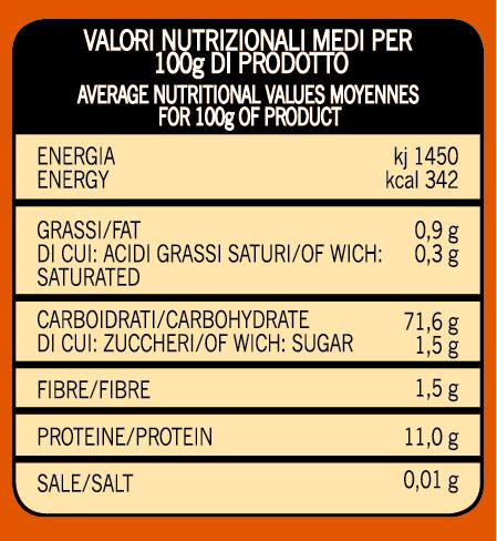 valori nutrizionali Preparato per piadina romagnola molino spadoni