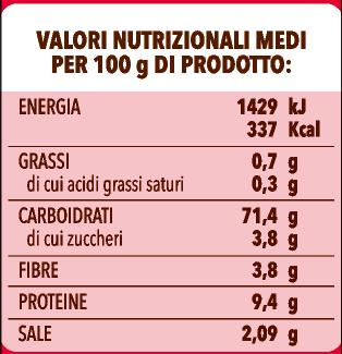 tabella nutrizionale preparato per gnocchi