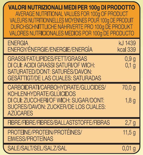 tabella nutrizionale spadoni premium pasta
