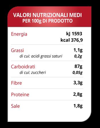 tabella valori grissini con quinoa Spadoni