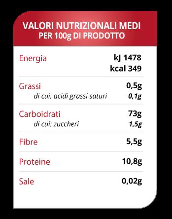 tabella valori nutrizionali pasta al teff Molino Spadoni