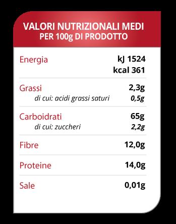Tabella valori nutrizionali pasta madre acida in polvere Molino Spadoni