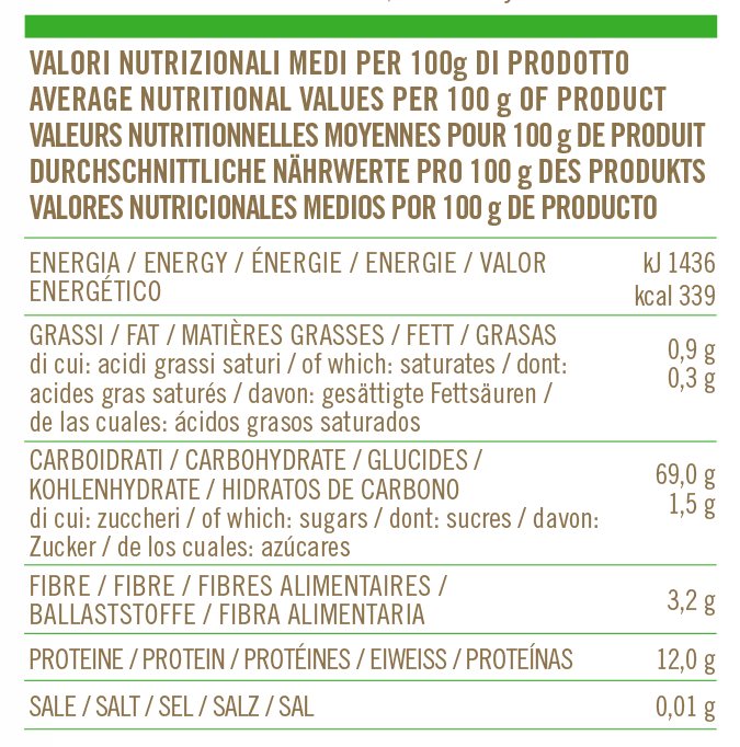 Valori nutrizionali Farina Regionale Veneto
