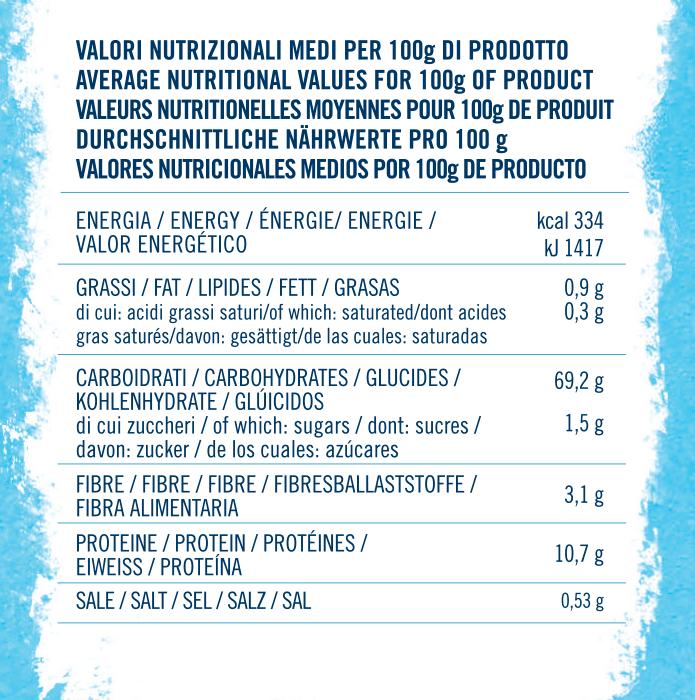 valori nutrizionali farina italiana tipo 1 con lievito vanigliato