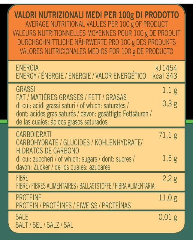 valori nutrizionali Farina di grano tenero per torte e dolci Almaverde