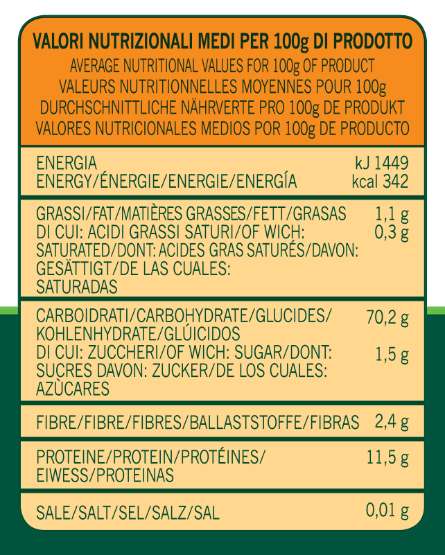 valori nutrizionali farine almaverde pizza