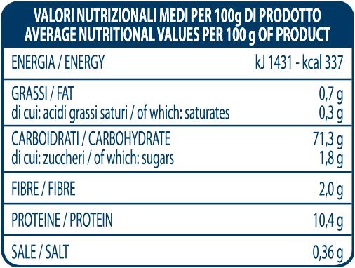 valori nutrizionali farina che lievita Molino Spadoni