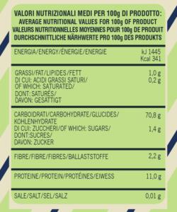 Average nutritional Gran Mugnaio organic flour - type