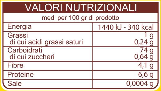 Valori nutrizionali Gran Mugnaio Bramata