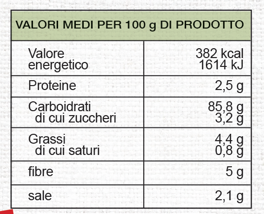 valori nutrizionali Grissini mediterranei Vivifree