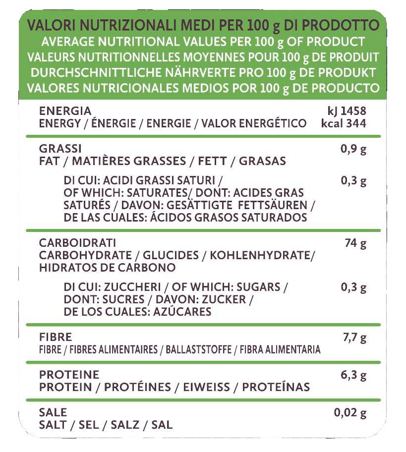 tabella valori pasta senza glutine mais e riso