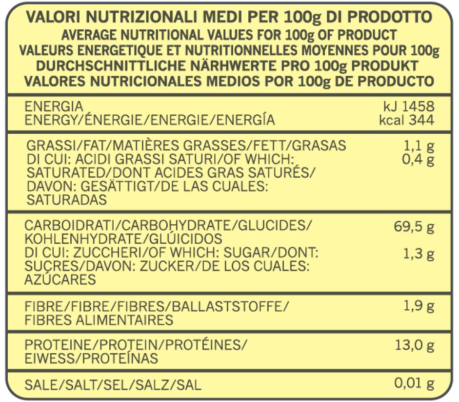 valori nutrizionali pizza classica professionale pz3