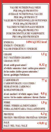 valori nutrizionali polenta istantanea