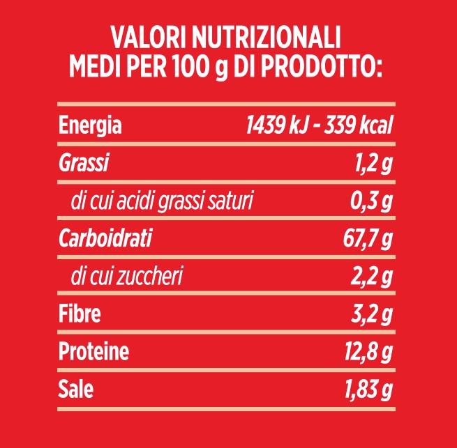 valori nutrizionali preparato per farina al farro molino spadoni