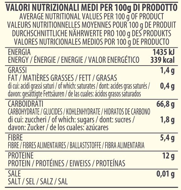 valori nutrizionali farina spadoni macina a pietra