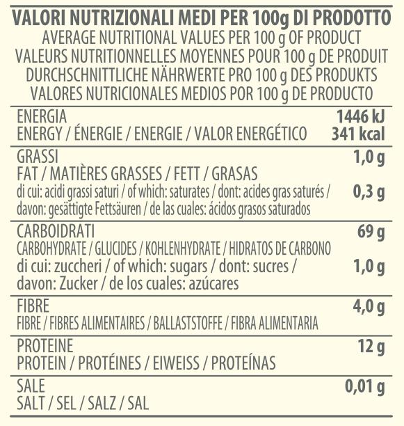 valori nutrizionali farina macinata a pietra tipo 1