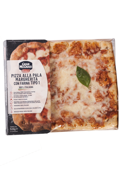 Margherita Peel Pizza with 100% Italian type 1 flour pre-cooked and frozen