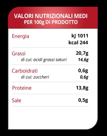 tabella valori scquacquerone di romagna dop Molino Spadoni
