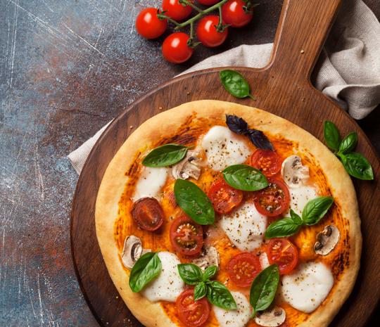 pizza rotonda con Preparato con amido resistente- con farina a basso indice glicemico